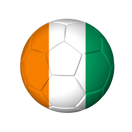 Soccer football ball with Cote d Ivoire flag  Isolated on white  photo