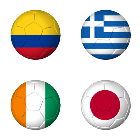 Soccer world cup 2014 group C flags on soccerballs