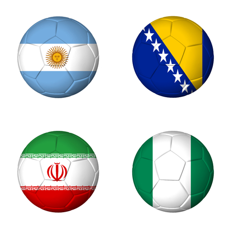 Soccer 2014 group F flags on soccerballs