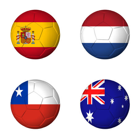 group b: Soccer 2014 group B flags on soccerballs