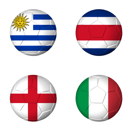 Soccer 2014 group D flags on soccerballs Stock Photo