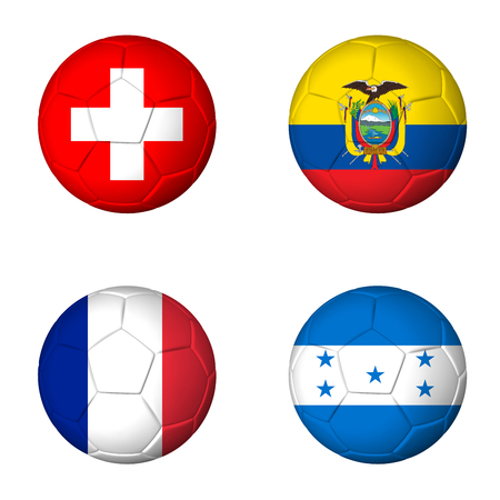 Soccer 2014 group E flags on soccerballs Stock Photo