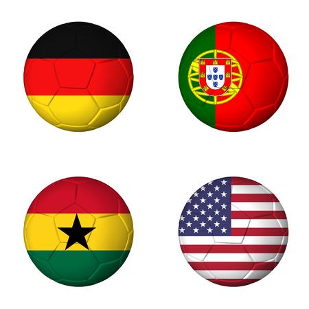 Soccer 2014 group G flags on soccerballs