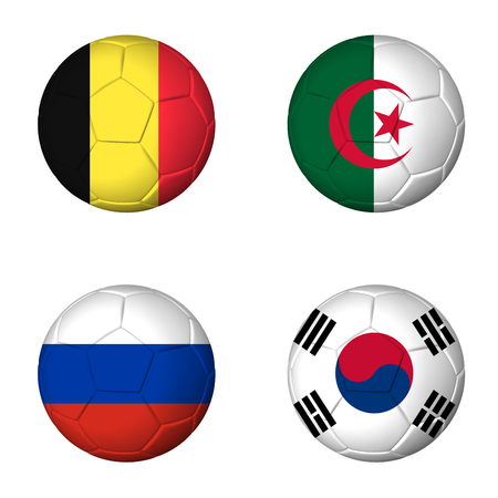 Soccer 2014 group H flags on soccerballs