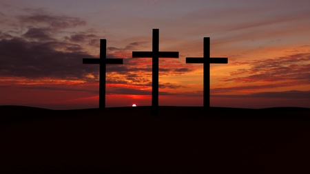 Three crosses on a hill with red  sunset  Фото со стока