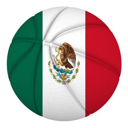 Basketball ball with Mexico flag  Isolated on white  Stock Photo