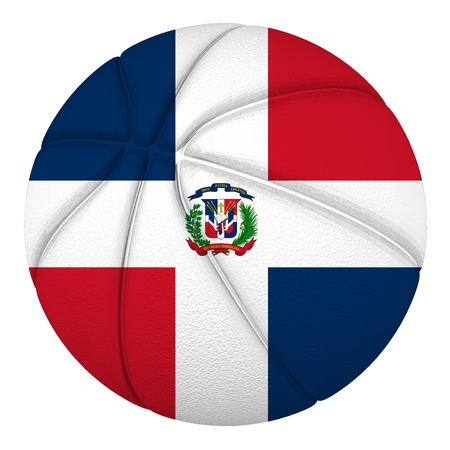 Basketball ball with Dominican Republic flag  Isolated on white