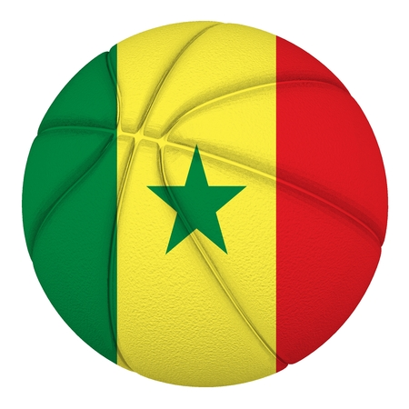 Basketball ball with Senegal flag  Isolated on white