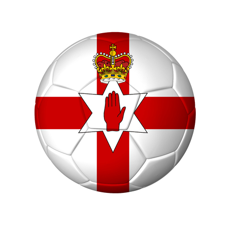 northern ireland: Soccer football ball with Northern Ireland flag. Isolated on white.
