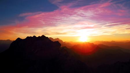 Beautiful sunset from mountains - Julian Alps Stock Photo