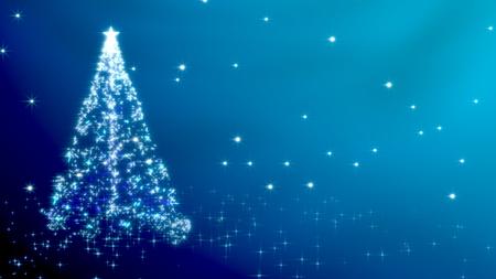 Christmas tree with stars - blue variant Stock Photo