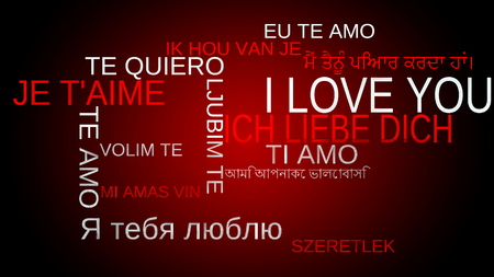 multilingual: I love you multilingual tag word cloud - red background Stock Photo