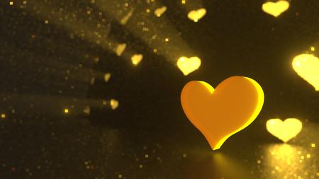 Valentine Day golden heart background
