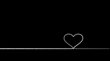 Drawn heart - white on black background