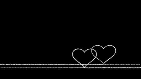 Two drawn hearts - white on black background Stock Photo