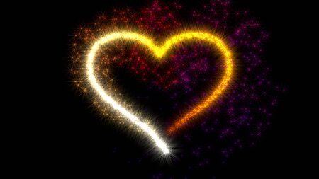 Sparks in shape of heart Stock Photo