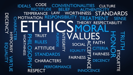 Ethics, moral, values word tag cloud. 3D rendering, blue variant.