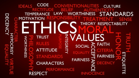 Ethics, moral, values word tag cloud. 3D rendering, red variant.