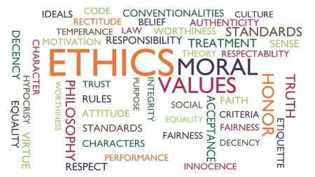 hypocrisy: Ethics, moral, values word tag cloud. 3D rendering, white variant.
