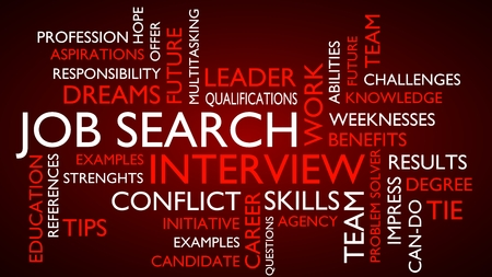 solver: Job search interview word tag cloud. 3D rendering, red variant.