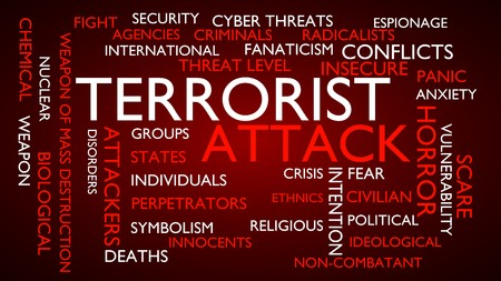 menace: Terrorist attack word tag cloud. 3D rendering, red variant. Stock Photo