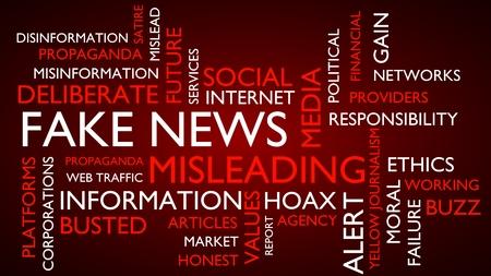 mislead: Fake news word tag cloud. 3D rendering, red variant.