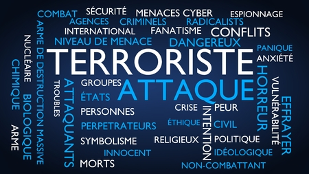 menace: Terrorist attack word tag cloud. 3D rendering, blue French variant.