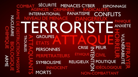 international crisis: Terrorist attack word tag cloud. 3D rendering, red French variant. Stock Photo