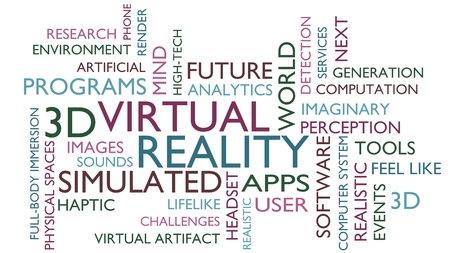 fictional: Virtual reality word tag cloud. 3D rendering, white variant.