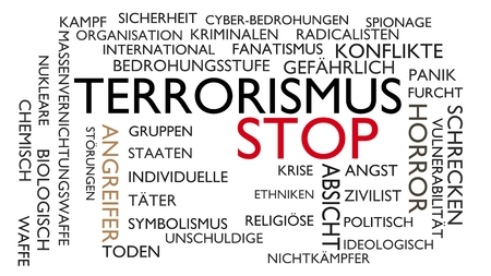 Terrorism, stop word tag cloud. 3D rendering, white German variant. Stock Photo
