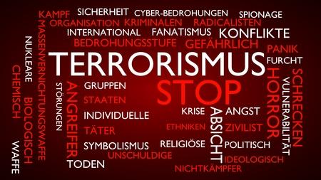 Terrorism, stop word tag cloud. 3D rendering, red German variant.