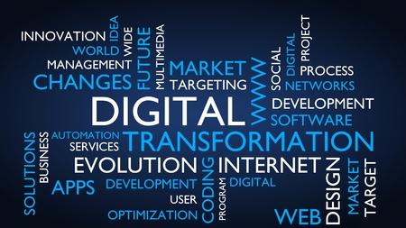 Digital transformation word tag cloud. 3D rendering, blue variant.