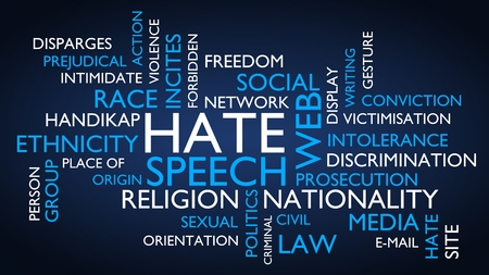 Hate speech word tag cloud. 3D rendering, blue variant. Stock Photo