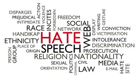 Hate speech word tag cloud. 3D rendering, white variant.