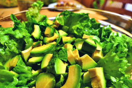 Salad with avocado and green lettuce