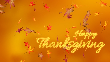 Happy thanksgiving, autumn, blur background, maple leaves