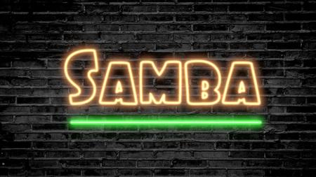 Samba neon sign on dark brick wall - background image