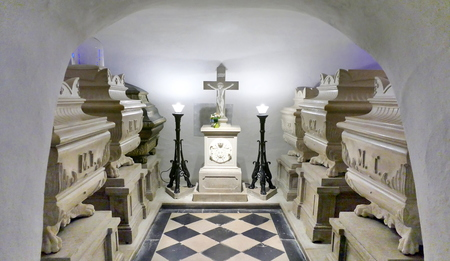 NOVA GORICA, SLOVENIA -21 MAY 2017- Inside the crypt of the church of Kostanjevica. The tombs of the last members of the French royal family of the Bourbons.