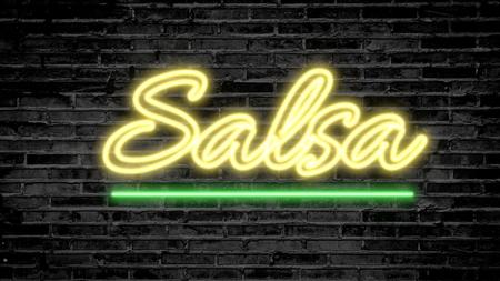 Salsa neon sign on dark brick wall - background image Stock Photo