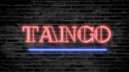 Tango neon sign on dark brick wall - background image