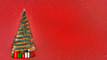 Christmas tree on red background with copy space. 3D rendering Stock Photo