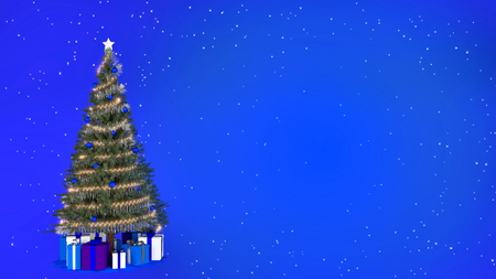 Christmas tree on blue background with copy space. 3D rendering