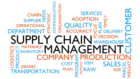Supply chain management word tag cloud. 3D rendering, white variant. Imagens - 94652117