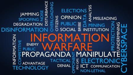 Information warfare word tag cloud. 3D rendering, blue variant.