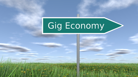 Signpost with Gig Economy wording. 3D rendering. Stock Photo