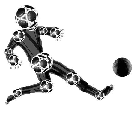 uefa: black football mascot kicking ball