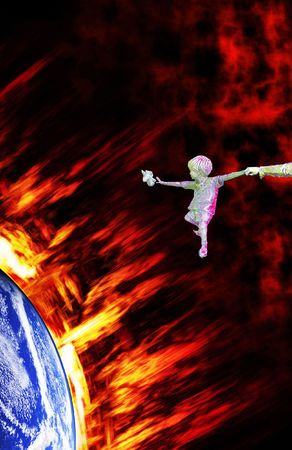 Global Warming - The world gets hot. Has humanity to leave Earth someday? photo
