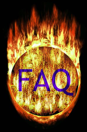 eg: Burning Labyrinth Sphere with frequently asked questions letters. E.g. as button... Stock Photo