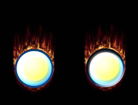unpressed: Dos botones Burning, presionado y unpressed