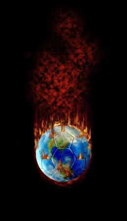 fume: Burning football globe with fire, fume and flames